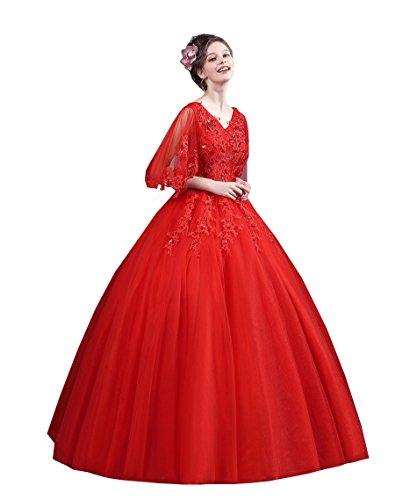 明るい幻想的プロフェッショナル千恵モール ウェディングドレス 赤 カラードレス レッド 編み上げタイプ 可愛い 花付き ふんわり カラードレス ウェディングドレス 結婚式 二次会 演奏 舞台