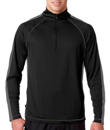 UltraClub® Adult Cool & Dry Sport 1/4-Zip Pullover - Black/ Charcoal - M