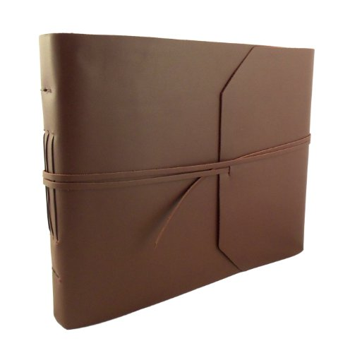 Large Genuine Leather Photo Album with Gift Box - Scrapbook Style Pages - Holds 400 4x6