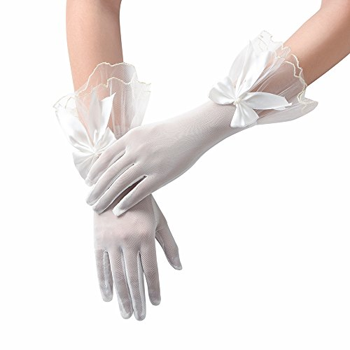 JISEN Women Party Bow Lace Elegant with Wrist Ruffle Bridal Wedding Gloves 11 Inch Off White (Lace Ruffle Gloves)