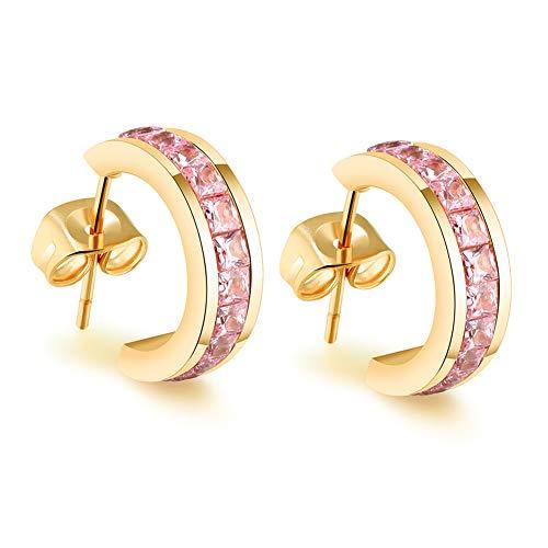 Cate & Chloe Amelia Dainty Huggie Hoop Earrings - 18K Gold Plated Stainless Steel CZ Stud Earrings - Princess Cut Ear Studs - Jewelry Box Included (Yellow Gold Pink Crystals)