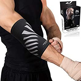 Physix Gear Sport Elbow Brace – Double Stitched Unisex Neoprene Compression Sleeve with Breathable Material for Joint Support – Keep Full Range of Motion and Help Treat Tendonitis