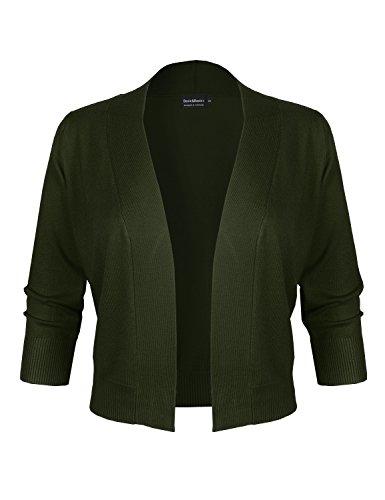 BASIC & BASIC+ BBP Classic 3/4 Sleeve Open Front Cropped Bolero Cardigan Olive M