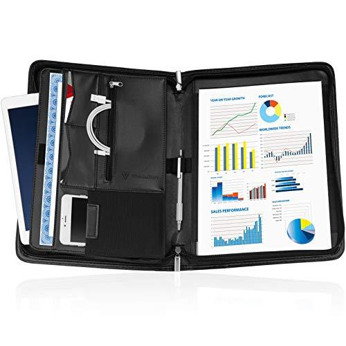 TIVALUTION - Portfolio Organizer - Zippered Padfolio - Resume Portfolio Binder - Pockets for iPad/Tablet and Smart Phone - Letter Size Writing Pad
