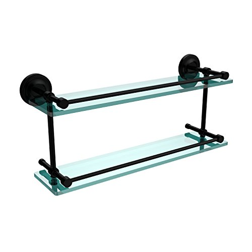 22 Bkm Matte (Allied Brass PRBP-2/22-GAL-BKM Prestige Regal 22-Inch Double Glass Shelf with Gallery Rail, Matte Black)
