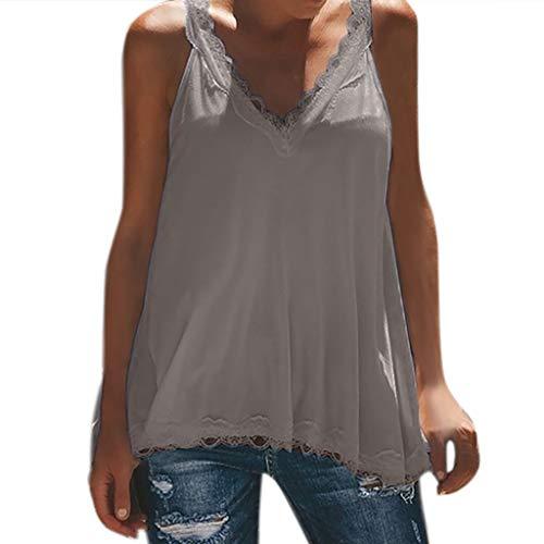 - LUCA Womens Summer Casual Sleeveless Tops Lace V-Neck Shirts Tank Tops(Gray,S)