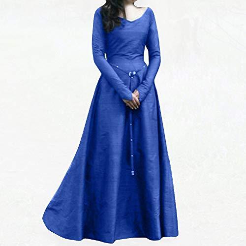 blu Plus Costume Party Retro Bandage Women Loose lunga Size Donna Donna scuro Dress manica medievale Cinnamou Long Rinascimento Ia8Rq4