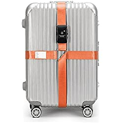 BlueCosto Orange TSA Approved Luggage Straps Cross Suitcase Strap Travel Bag Belts