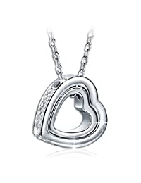 SALE 'LOVE YOU FOREVER' Engraved 18 ct White Gold Plated Heart with Crystals from Swarovski Pendant Chain Beautiful Necklace