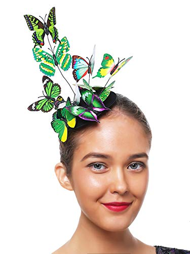 Tea Party Hat for Women Fascinators Kentucky Derby Wedding Hair Clip Headpiece with Butterfly (3-Green)
