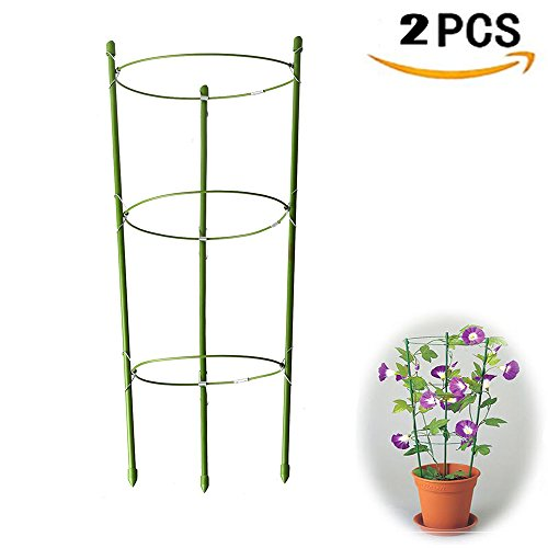Yojoloin 2 Pack Garden Plant Support Ring Garden Trellis Flower stainless Steel Support Climbing Vegtables&Flowers&Fruit Grow Cage with 3 Adjustable Rings 17.8