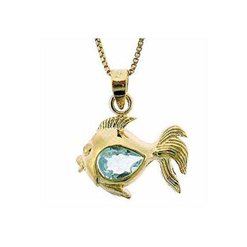 Glitzs Jewels Gold Tone Over Sterling Silver 4/5Ct Blue Topaz Fish Pendant, 18'' ()
