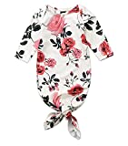 Vawal Newborn Baby Girl Floral Print Gown Infant Knotted Sleeping Bag Swaddle (0-6M, White)
