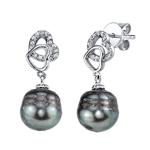 THE PEARL SOURCE 10-11mm Genuine Baroque Black Tahitian Cultured Pearl & Cubic Zirconia Tear Earrings for Women