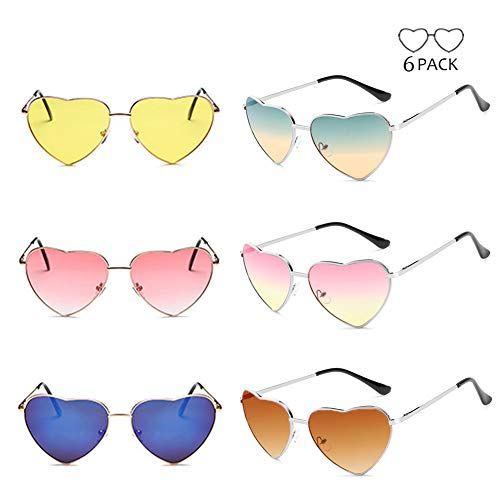 6 Packs Multi Colors Tinted Gradient Mirrored Lens Trendy Heart Shape Sunglasses Collection for Women Girls, UV 400 Protection by Pibupibu