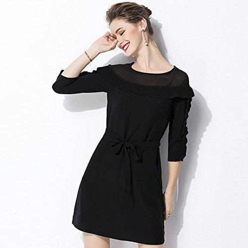 Respaldo El Y Siete Camisa Negra Fina ZHUDJ Verano black Primavera La Vestido vwgqC1g
