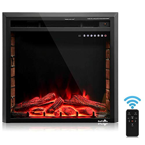 Cheap Dawndior 26 Electric Fireplace Recessed Free Standing Insert Glass Log Flame Stove Heater w/Remote Control Touch Screen Timer Black Black Friday & Cyber Monday 2019
