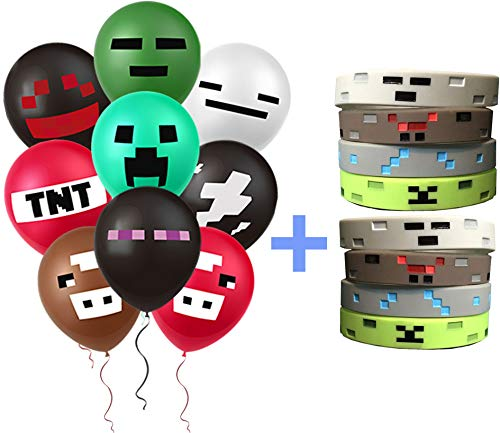 PartyFuFu Mining Balloons and Wristbands - 36 Count Miner Balloons Kit In 9 Assorted Styles | Easy To Inflate, Sturdy Latex Party Decoration Set | Top Birthday, Gaming, Graduation Party Supplies | Great Gifting Idea Bonus Wrist Gear for $<!--$15.99-->