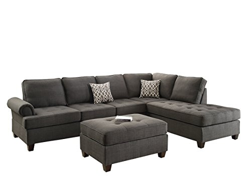 - Poundex Bobkona Azura Linen-Like Polyfabric Left or Right Chaise 3Piece SECTIONAL with Ottoman Set in Ash Grey