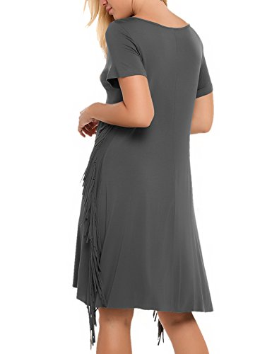 Fringe Short Sleeves Dress Casual Tassel Loose Solid Women's Side ACEVOG Tee Gray gWnxCq
