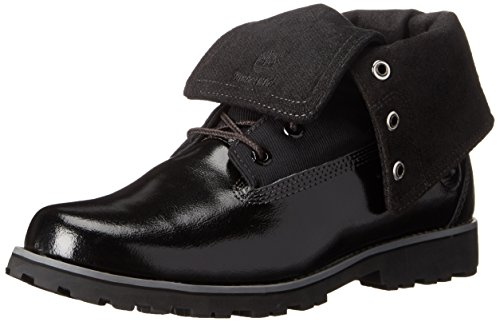 Timberland Authentics Fabric Fold Boot with Closure (Little Kid/Big Kid), Black Shine, 5 M US Big Kid