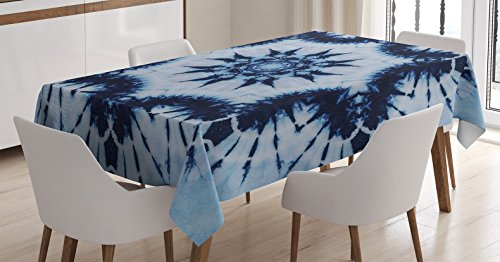 Ambesonne Tie Dye Decor Tablecloth, Indian Floral Mandala Form Made with Digital Folded Radiant Forms Boho Design, Dining Room Kitchen Rectangular Table Cover, 60W X 90L inches, Royal Blue -