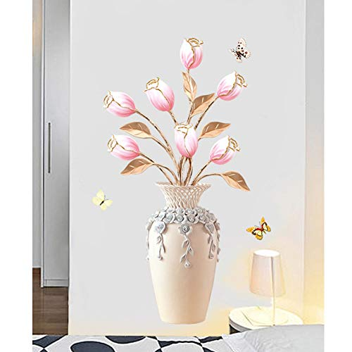 HomDSim Tulip Vase Wall Decals DIY Craft Art Decor Wall Stickers Murals Removable Waterproof Decorative Decoration,for Living Room TV Background Kids Gilrs Rooms Bedroom Chinese Style