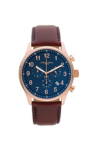Jorg Gray JG5500-21 Men's Watch Chronograph Blue Dial with Dark Red Leather Strap by Jorg Gray