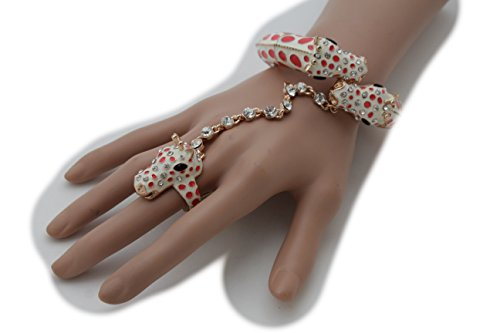 TFJ Women Fashion Style Gold Metal Hand Chains Bracelet Animal Girrafe Slave Ring Bling Jewelry - Coral Goddess Sexy Costumes