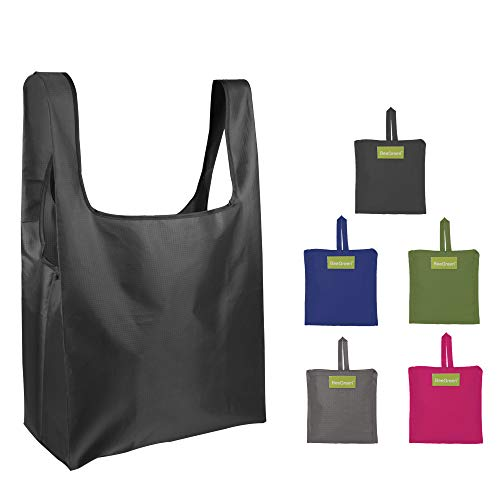 Reusable Bags Set of 5, Grocery Tote Foldable into Attached Pouch, Ripstop Polyester Reusable Shopping Bags, Washable, Durable and Lightweight (Black,Navy,Pink,Moss,Khaki) ()