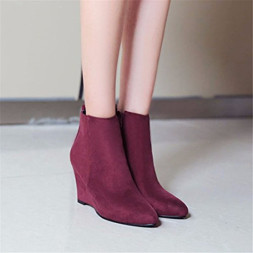 pointed size shoes boots heel large women's short Suede gules FqnwdTHBd