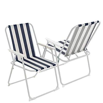 Folding Metal Garden ArmChairs - Blue Stripe - Pack of 4