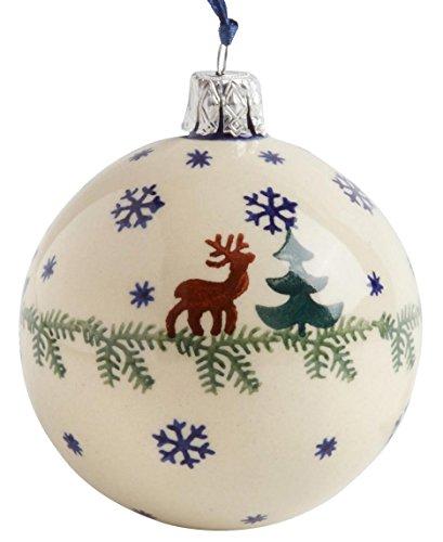 (Polish Pottery Reindeer Moose Deer Pine Handmade Ceramic Christmas Tree Ball Ornament, 3-Inch Diameter)