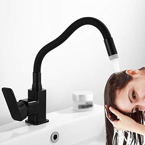 全銅洗面台トイレ浴室の蛇口、蛇口, 洗面台, 蛇口 シャワー,水道 蛇口, キッチン水栓蛇口, 黒い洗面器の蛇口の台所の蛇口、二水出口モード、スイベル単一の穴バスルームのシンクの蛇口 (Color : Black)