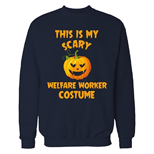 Welfare Mom Costume (This Is My Scary Welfare Worker Costume Halloween Gift - Sweatshirt Navy_blue S)