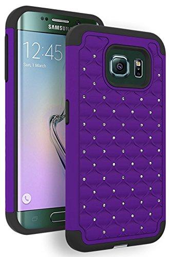 Galaxy S6 Edge Case, Bastex Heavy Duty Hybrid Protective Armor Case - Soft Black Silicone Cover with Purple Studded Rhinestone Bling Design Hard Case for Samsung Galaxy S6 Edge G925