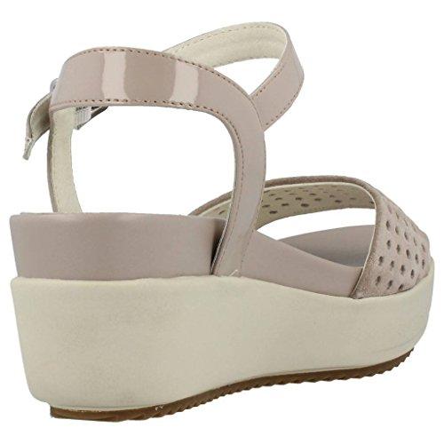 STONEFLY PIEL 106.594 topo sandalias de cuña zapatos grises del ante de las mujeres de la correa de cuero Beige
