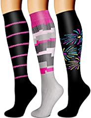 Compression Socks,(3 Pairs) Compression Sock Women and Men Best Running, Athletic Sports, Crossfit, Flight Tra