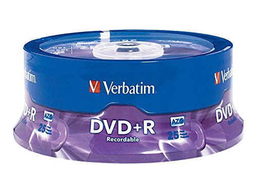 Verbatim 4.7GB up to 16x Branded Recordable Disc DVD+R 25-Disc Spindle 95033