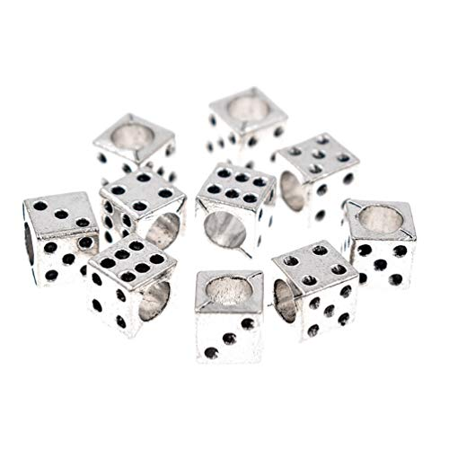 Kesheng 10pcs Metal Dice Beads with Holes for Bracelets Jewelry Making Loose Charms