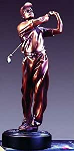 "Bronze Sculpture - Male Golfer - 15"" Tall x 5"" Wide - Woodtone Base 5"" x 1.5"""