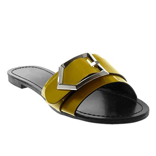 Angkorly Damen Schuhe Sandalen Mule - Slip-On - Schleife - Metallisch - Patent Blockabsatz 1.5 cm Gelb
