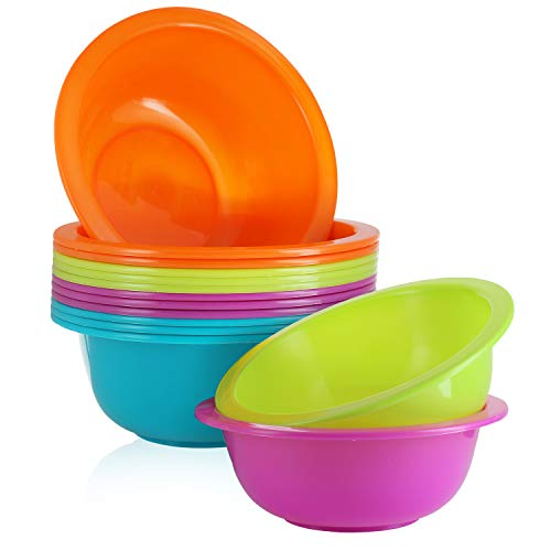 28 Oz Plastic Cereal Bowls, Set of 12 - BPA Free Reusable Colorful Kids Bowls for Cereal, Snack, Soup, Salad, Dessert & Fruit - Shatterproof, Microwave and Dishwasher Safe