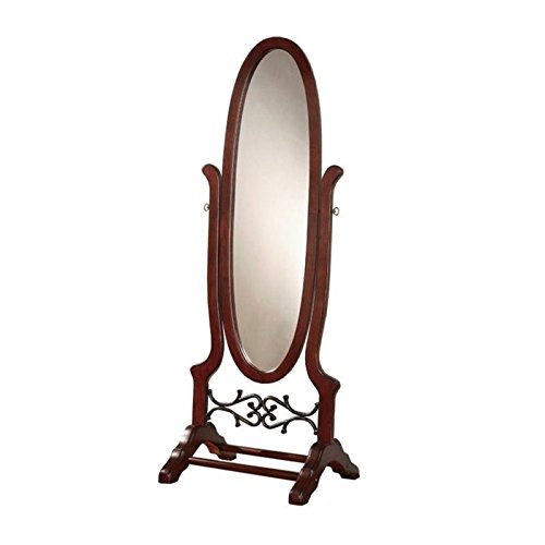 BOWERY HILL Oval Cheval Mirror in Dark Cherry ()