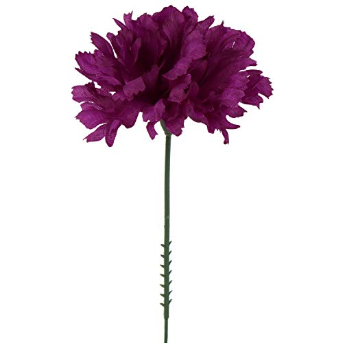 Larksilk Purple Silk Carnation Picks, Artificial Flowers for Weddings, Decorations, DIY Decor, 100 Count Bulk, 3.5 Carnation Heads with 5 Stems