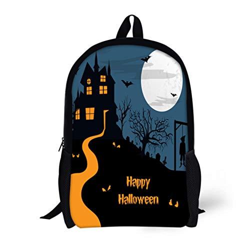 Pinbeam Backpack Travel Daypack Halloween Haunted Moonlight Night Spooky House Can Be Waterproof School -