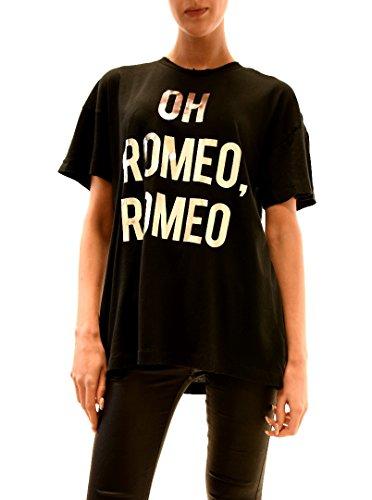 Wildfox Mujer Oh Romeo Silver Print Top Tee Negro limpia con él