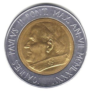 (1985 Vatican City Bi-metallic 500 Lira Coin KM#190 - Pope John Paul II )