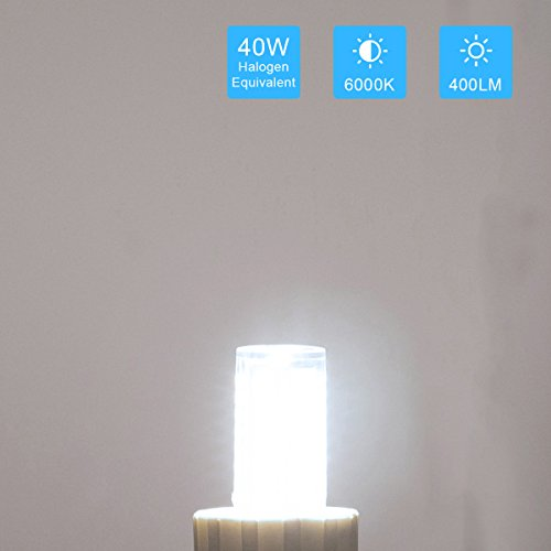 JandCase G9 LED Light Bulbs, 5W (40W Halogen Equivalent), 400LM, Daylight White (6000K), G9 Base, G9 Daylight White Bulbs for Home Lighting (Pack of 5) by JandCase (Image #4)