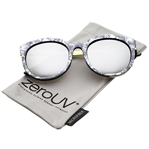 zerouv-womens-oversized-marble-finish-metal-temple-mirrored-lens-round-sunglasses-charcoal-gold-silv